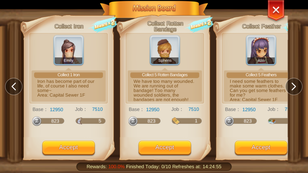 mission board quests and rewards ragnarok mobile