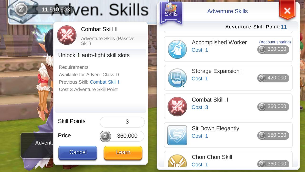 ragnarok mobile adventure rank d adventure skills