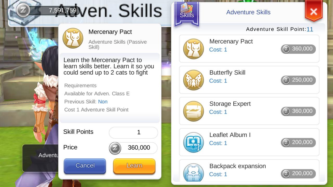 ragnarok mobile adventure skill mercenary pact