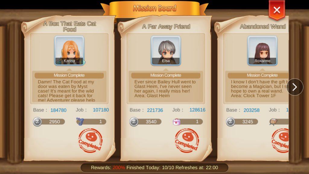 ragnarok mobile mission board quest